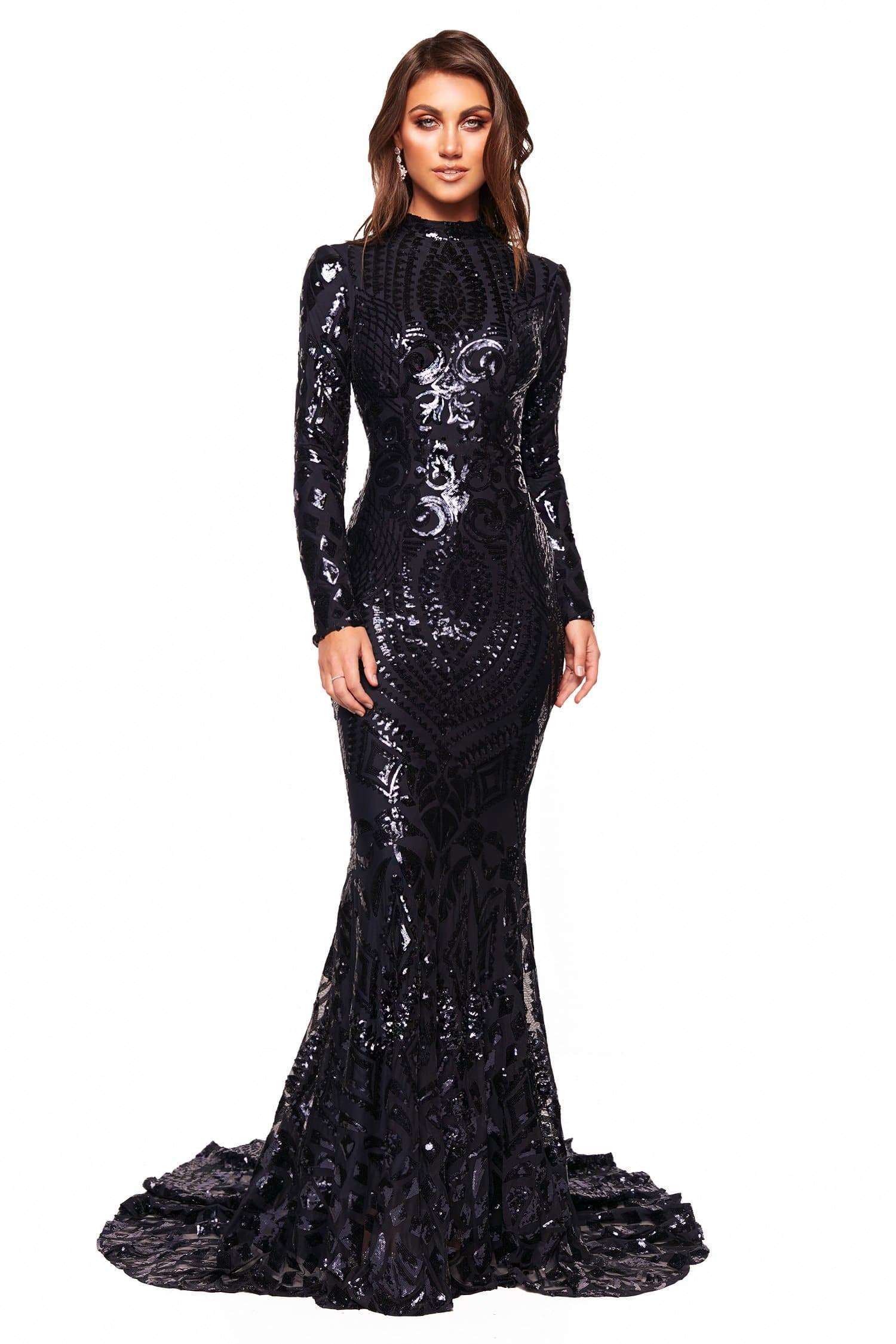 6913008ef8070c A&N Luxe Cosimia - Navy Long Sleeve Sequin Gown with High Neck – A&N ...