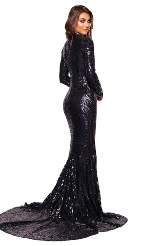 A&N Luxe Cosimia - Navy Long Sleeve Sequin Gown with High Neck