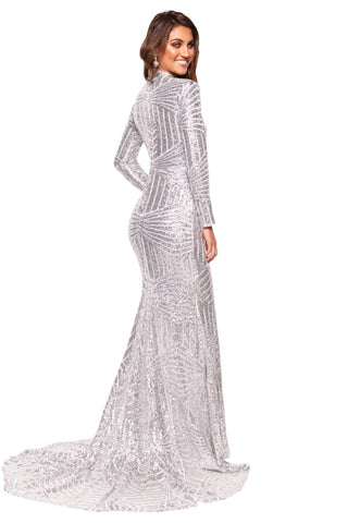 A&N Luxe Liz - Silver High Neck Sequins Gown with Long Sleeves