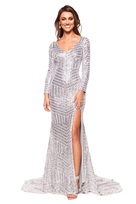 A&N Luxe Mariana Sequin Gown - White