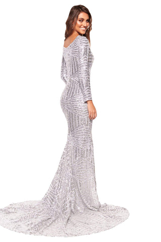 A&N Kaya - Silver Sequins Dress with Long Sleeves and Side Slit