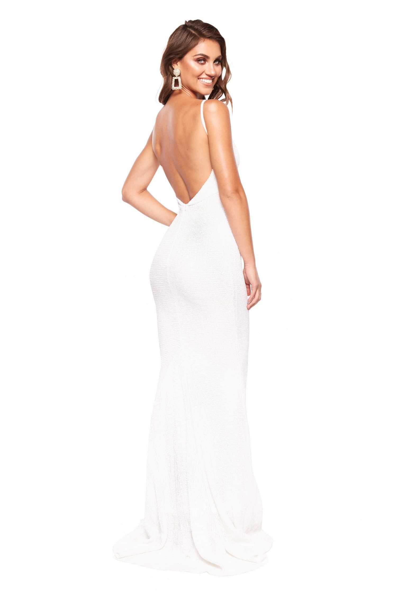 A&N Cynthia Gown - Sparkling White Gown with V-Neck and Low Back