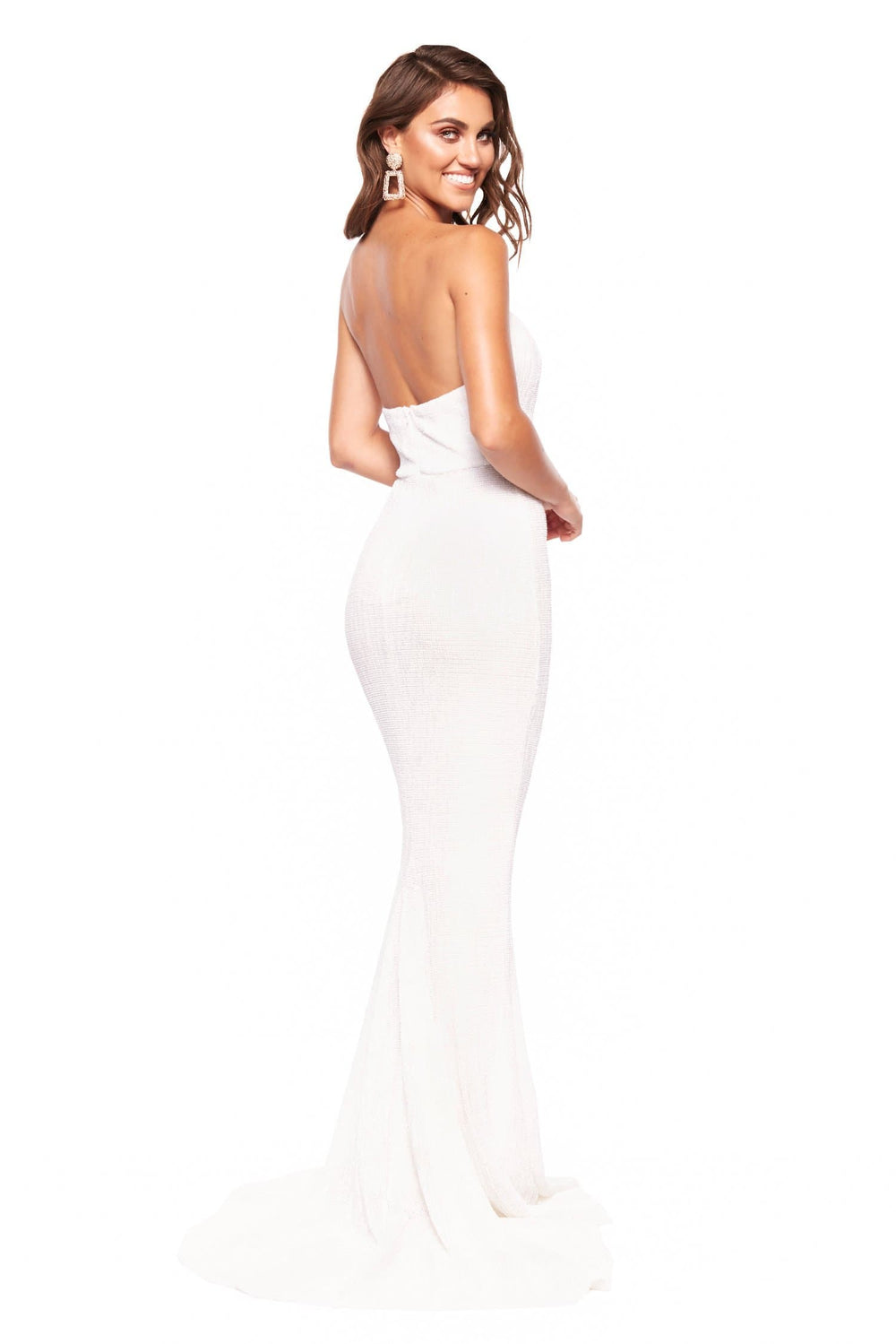A&N Chloe - White Strapless Sequin Gown with Mermaid Silhouette