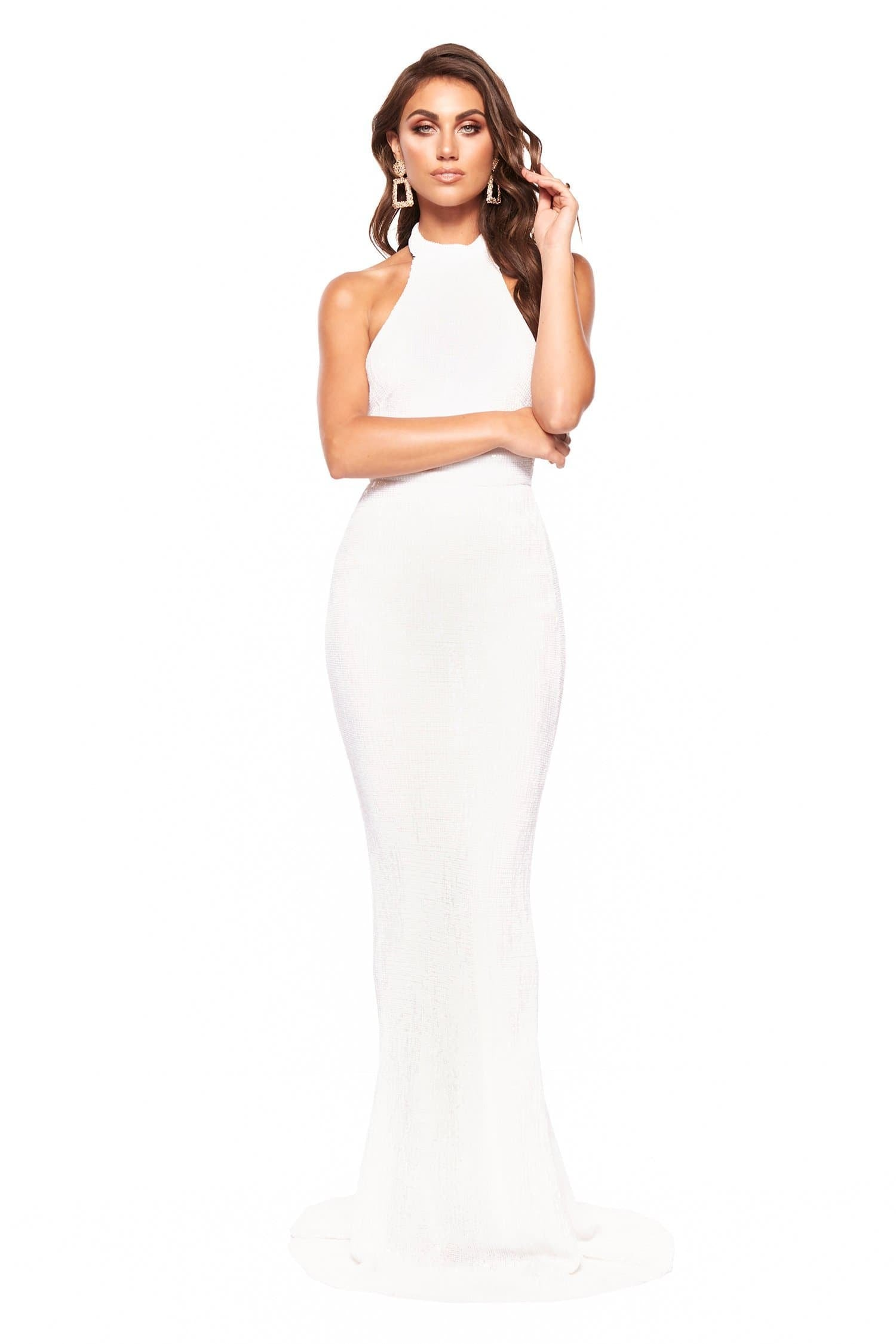 2c830da1328 A N Valentina - White Sequin Halter Neck Gown with Mermaid Tail ...