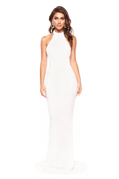 1711c4f92aa A N Valentina - White Sequin Halter Neck Gown with Mermaid Tail – A N Luxe  Label