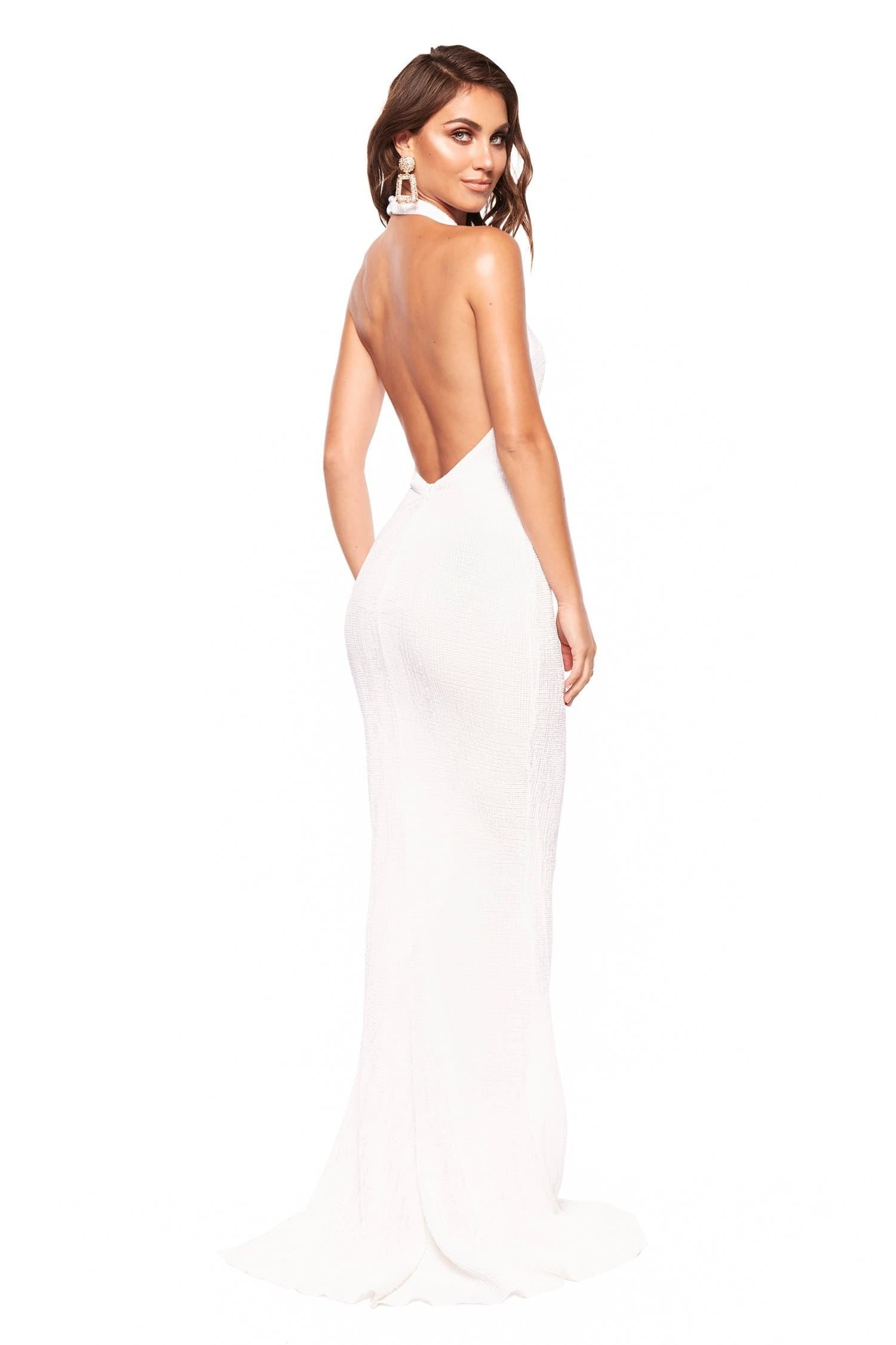 81b82870f05 ... A N Valentina - White Sequin Halter Neck Gown with Mermaid Tail ...