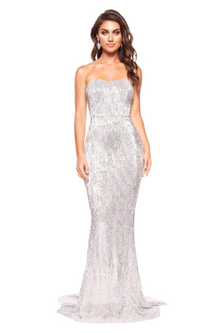 A&N Chloe - Silver Strapless Sequin Gown with Mermaid Silhouette