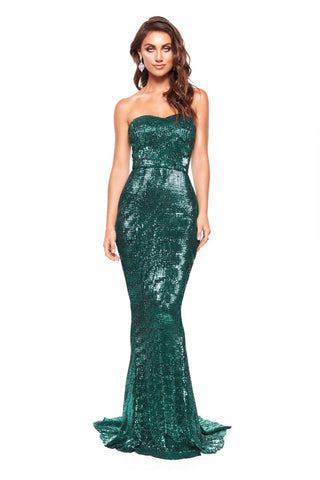 A&N Chloe Strapless Sequin Sparkling Mermaid Gown - Emerald