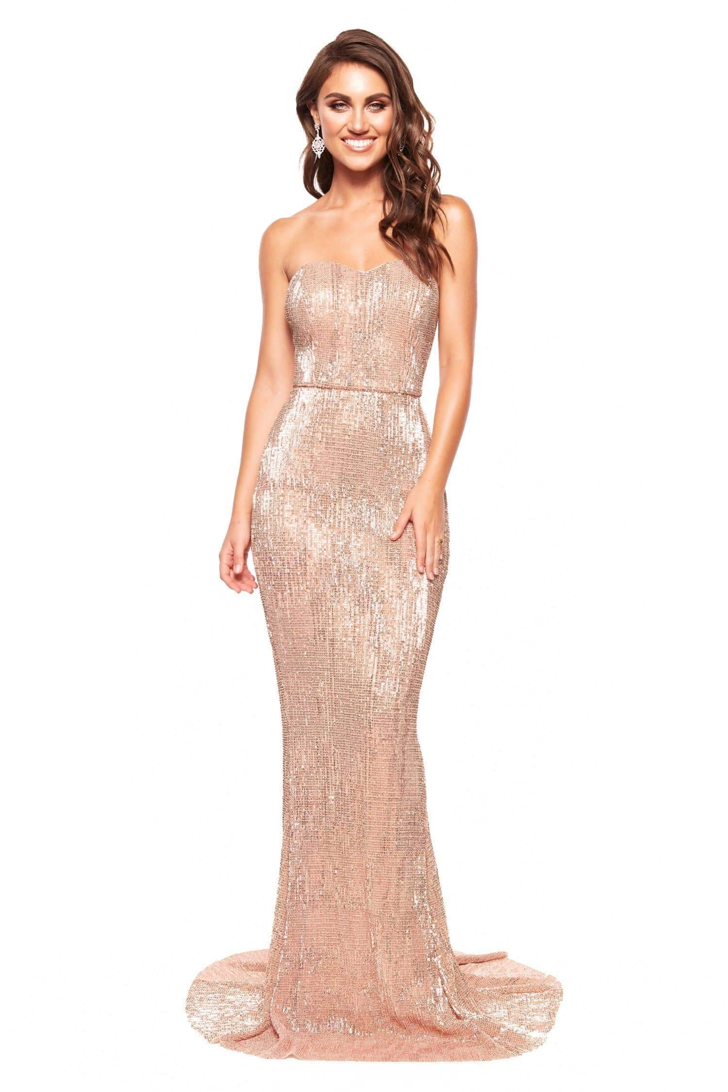 A&N Chloe - Rose Gold Strapless Sequin Gown with Mermaid Silhouette