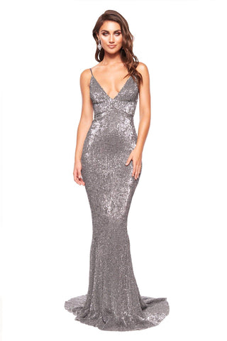 A&N Cynthia Gown - Gunmetal Sparkling Sequin Mermaid Gown with V-Neck