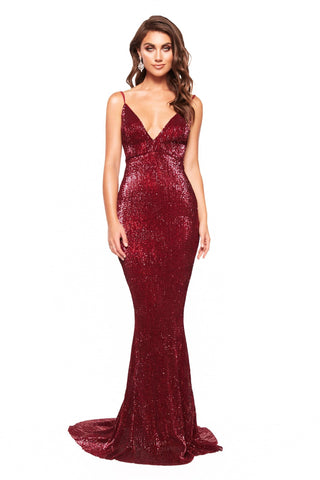 A&N Cynthia Gown - Sparkling Mermaid Gown with V-Neck in Burgundy
