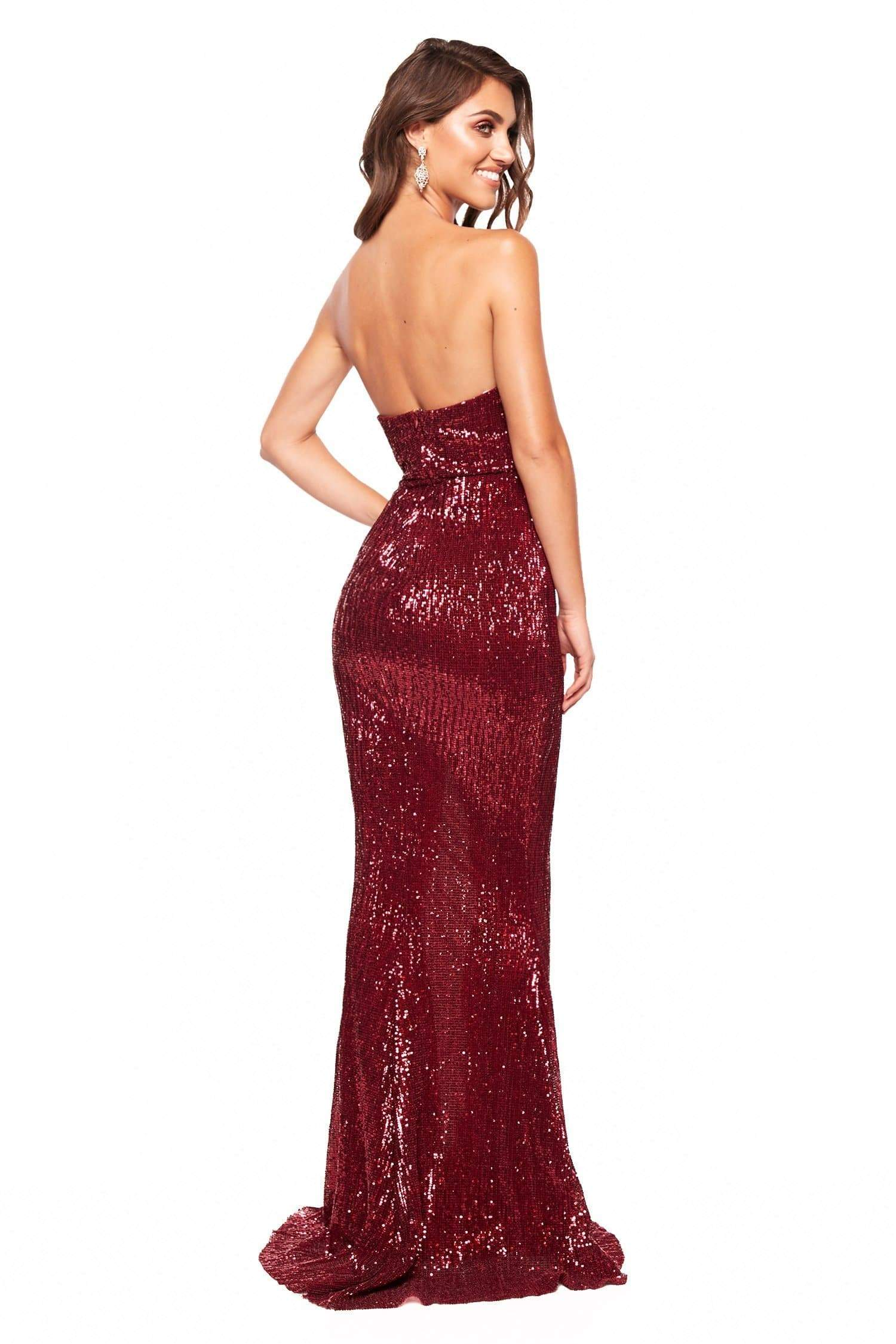 A&N Katya - Burgundy Strapless Sequin Gown with Side Slit