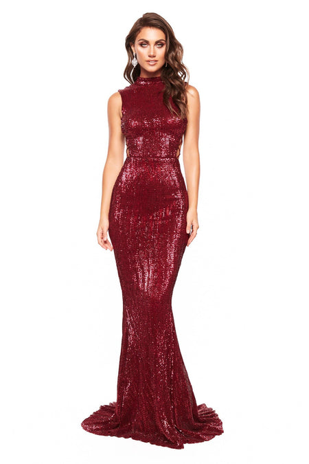 A&N Luxe Aida Satin Gown - Deep Red