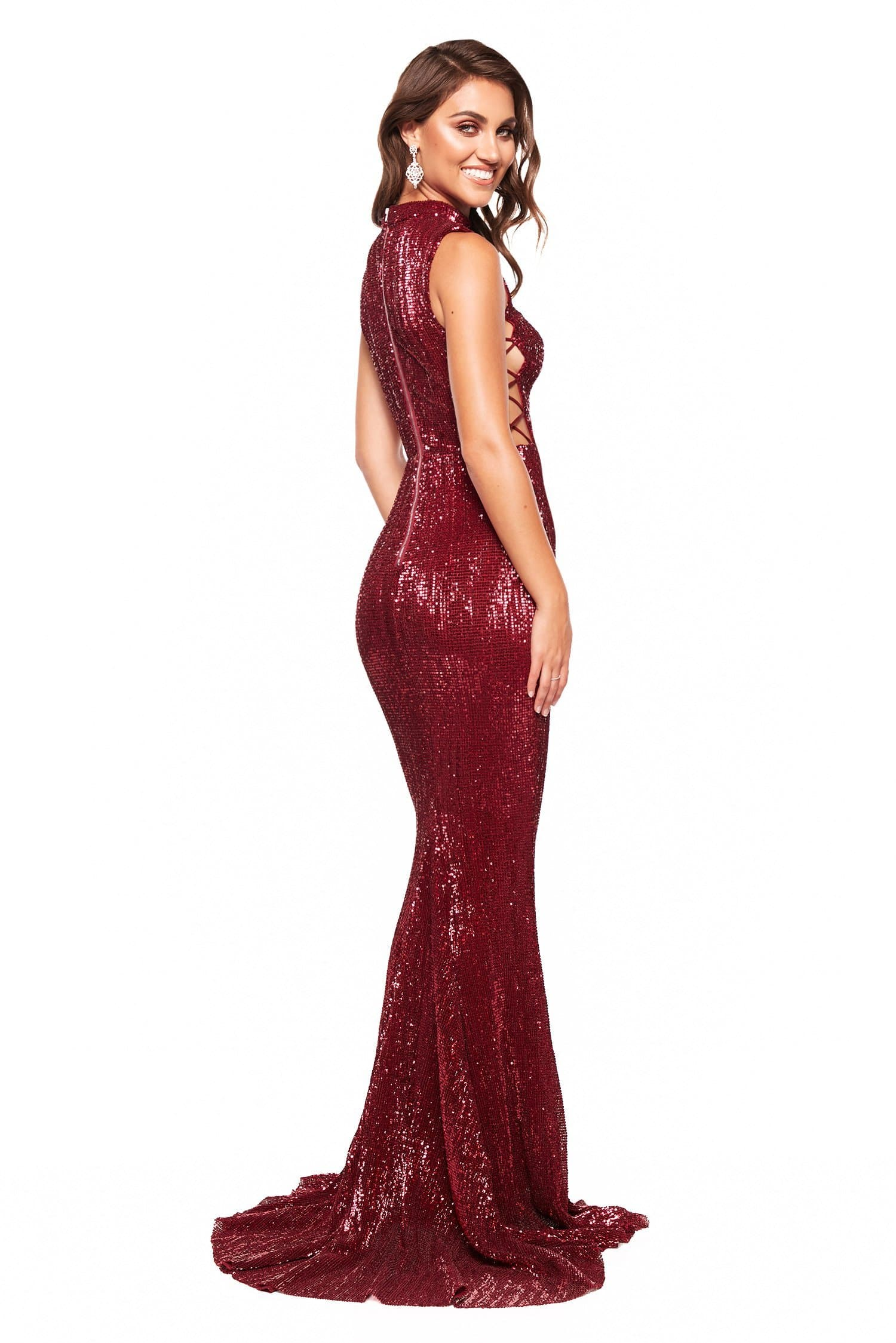 A&N Harper - Burgundy Sequin High Neck Gown with Criss-Cross Sides