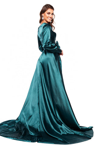 A&N Luxe Paloma - Teal Long Sleeved Satin Gown with Plunge Neck & Slit