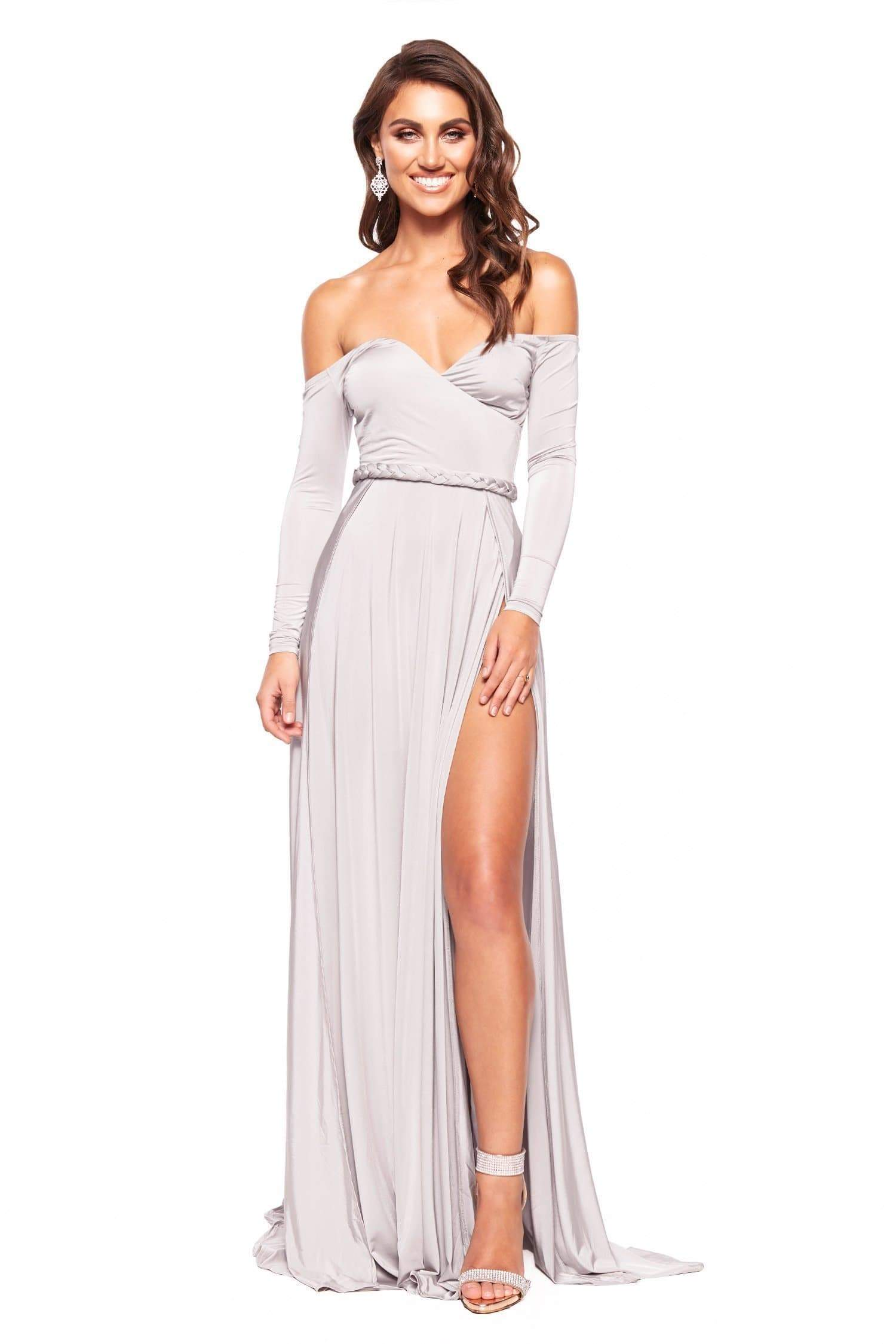 5564bd927481 Parnella - Grey Off-Shoulder Long Sleeve Jersey Gown with Slit – A N ...