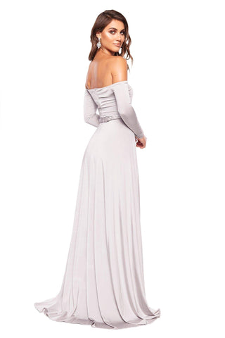 Parnella - Grey Off-Shoulder Long Sleeve Jersey Gown with Slit