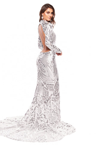 A&N Luxe Saskia  - Silver Sequin High Neck Gown with Cut Out Back