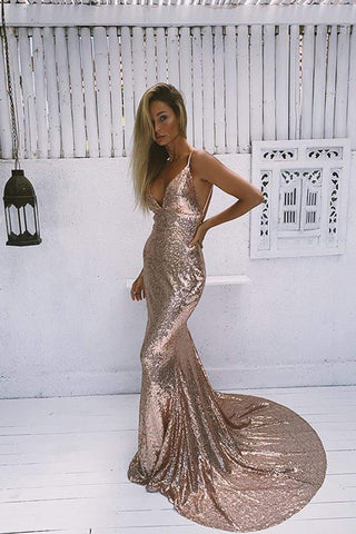 A&N Alejandra - Rose Gold Sequins Gown with Low Back and V-Neckline