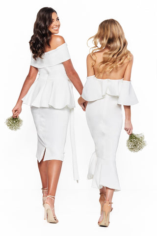 A&N Bridesmaids Selena - White Ponti Off-Shoulder Midi Dress