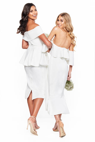 A&N Bridesmaids Camila - White Midi Off-Shoulder Dress with Frills