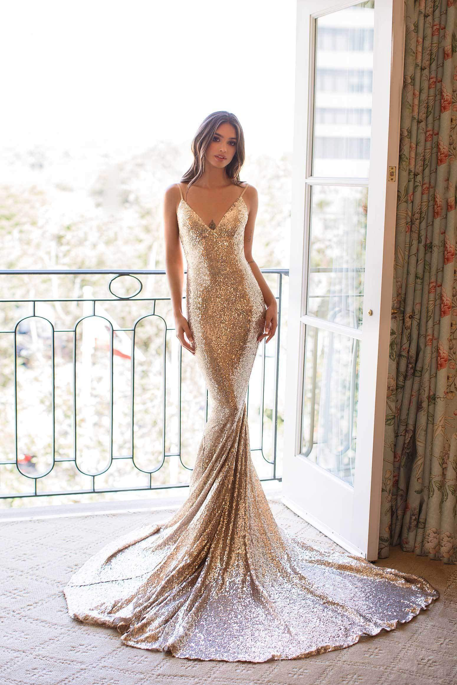 Yassmine Luxe - Copper Gold Backless Sequin Gown with Mermaid Train
