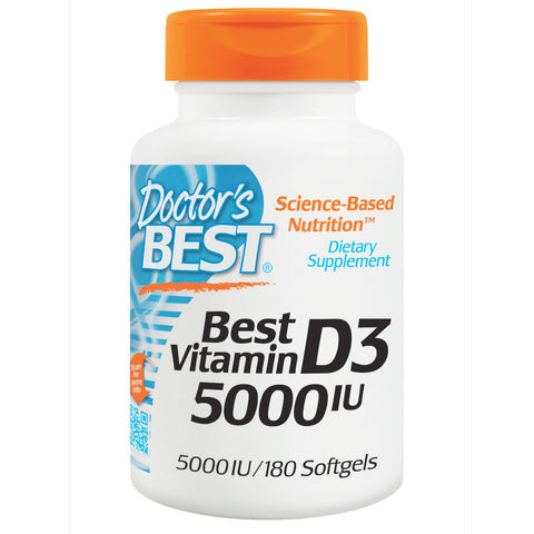 Doctor's Best, Best Vitamin D3, 5000 IU, 180 SG