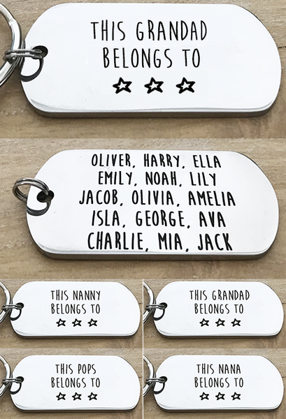 Double Sided Personalised Grandparent Keyring