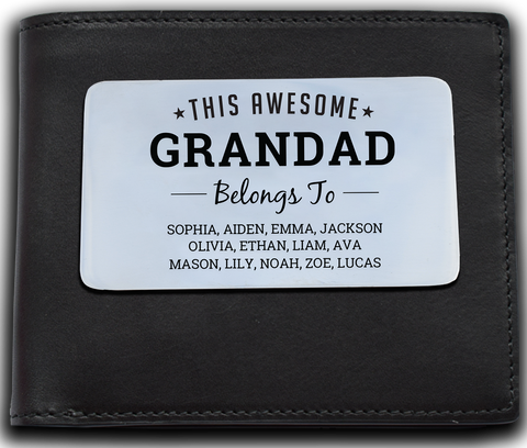Leather Wallet + Personalised Awesome Grandad Wallet Insert