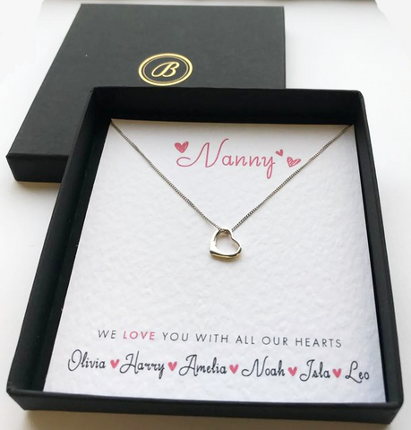 Sterling Silver Heart Necklace - Grandmother - All Our Hearts