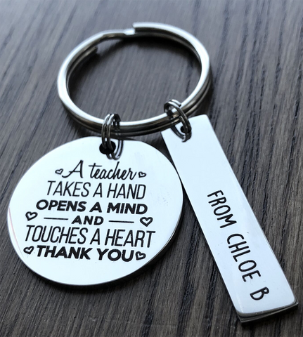Personalised Teacher Keyring - A Teacher Takes A Hand