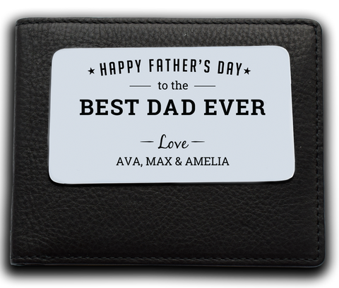 Leather Wallet + Personalised Father's Day Wallet Insert