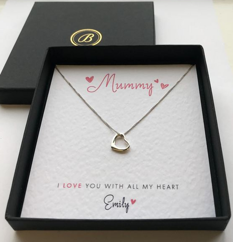 Sterling Silver Open Heart Necklace - I Love You With All My Heart