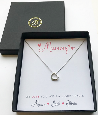Sterling Silver Open Heart Necklace - Mother's Day Gift