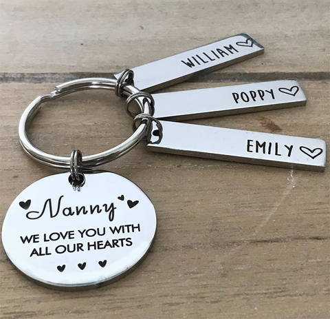 Personalised Grandmother Keyring - All Our Hearts