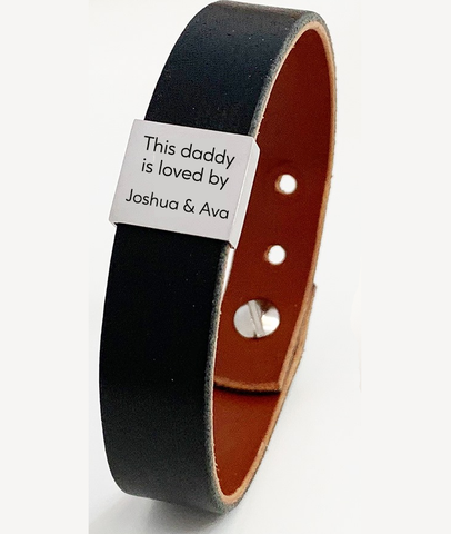 Personalised Daddy Loved By Leather Bracelet