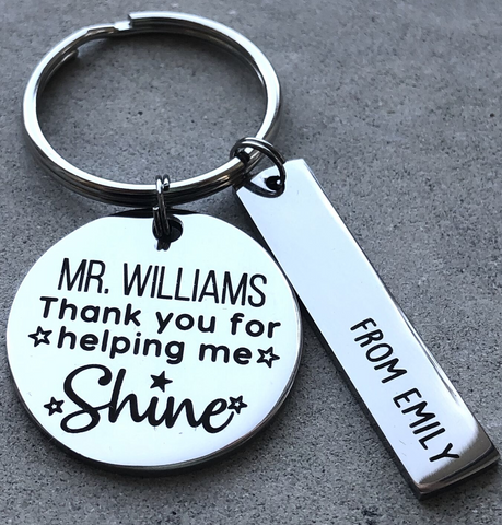 Personalised Teacher Keyring - Thank You For Helping Me Shine