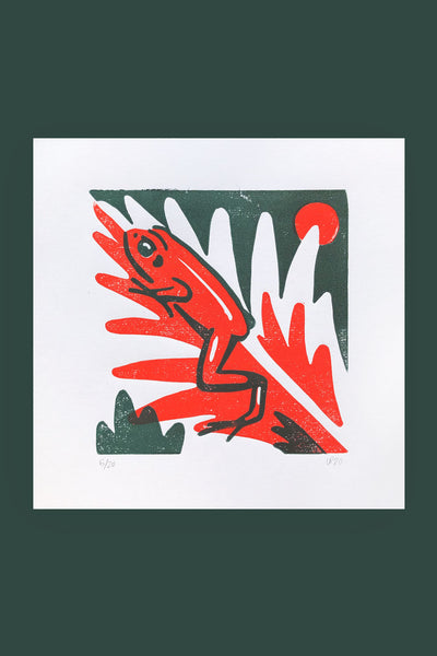 Black-eared Mantella Linocut Print