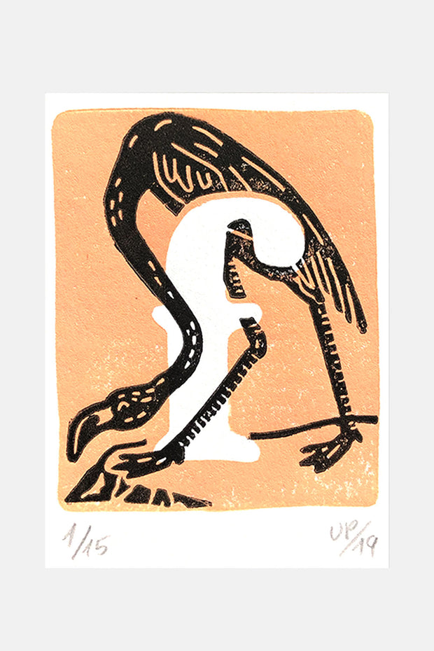 "F for ""Flamingo"", Linocut Print"