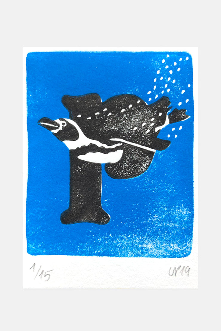 "P for ""Pinguin"", Linocut Print"