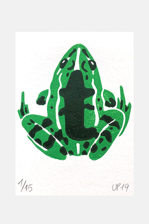 "T for ""Teichfrosch"", Linocut Print"