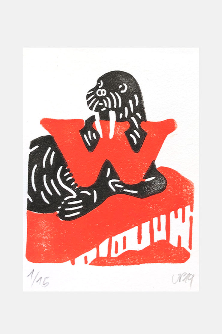 "W for ""Walross"", Linocut Print"