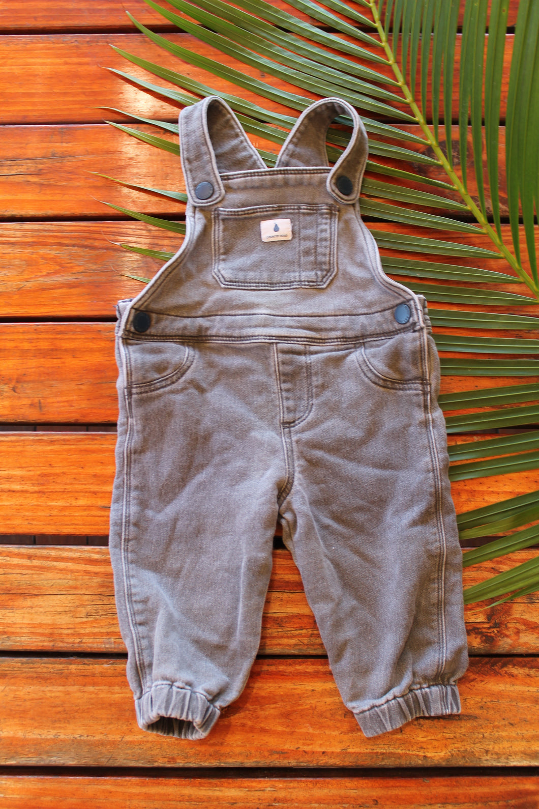 Grey Washed Denim Overalls