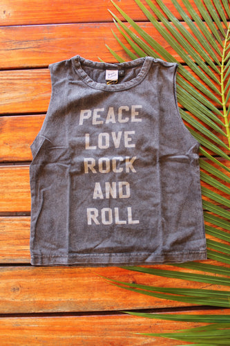 Peace Love Rock N Roll Grey Acid Wash Muscle Tee