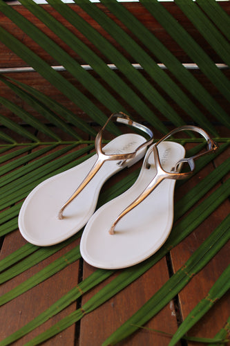 Jess Jelly Sandals- White/Rose Gold LAST PAIR