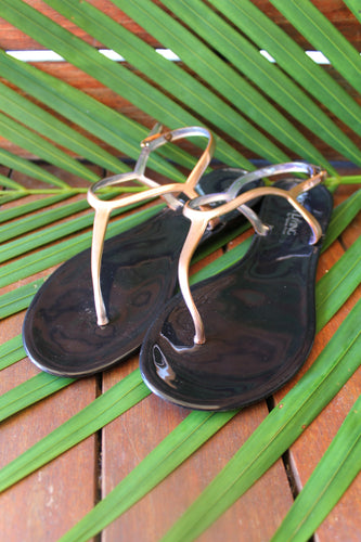 Jess Jelly Sandals- Black/Rose Gold