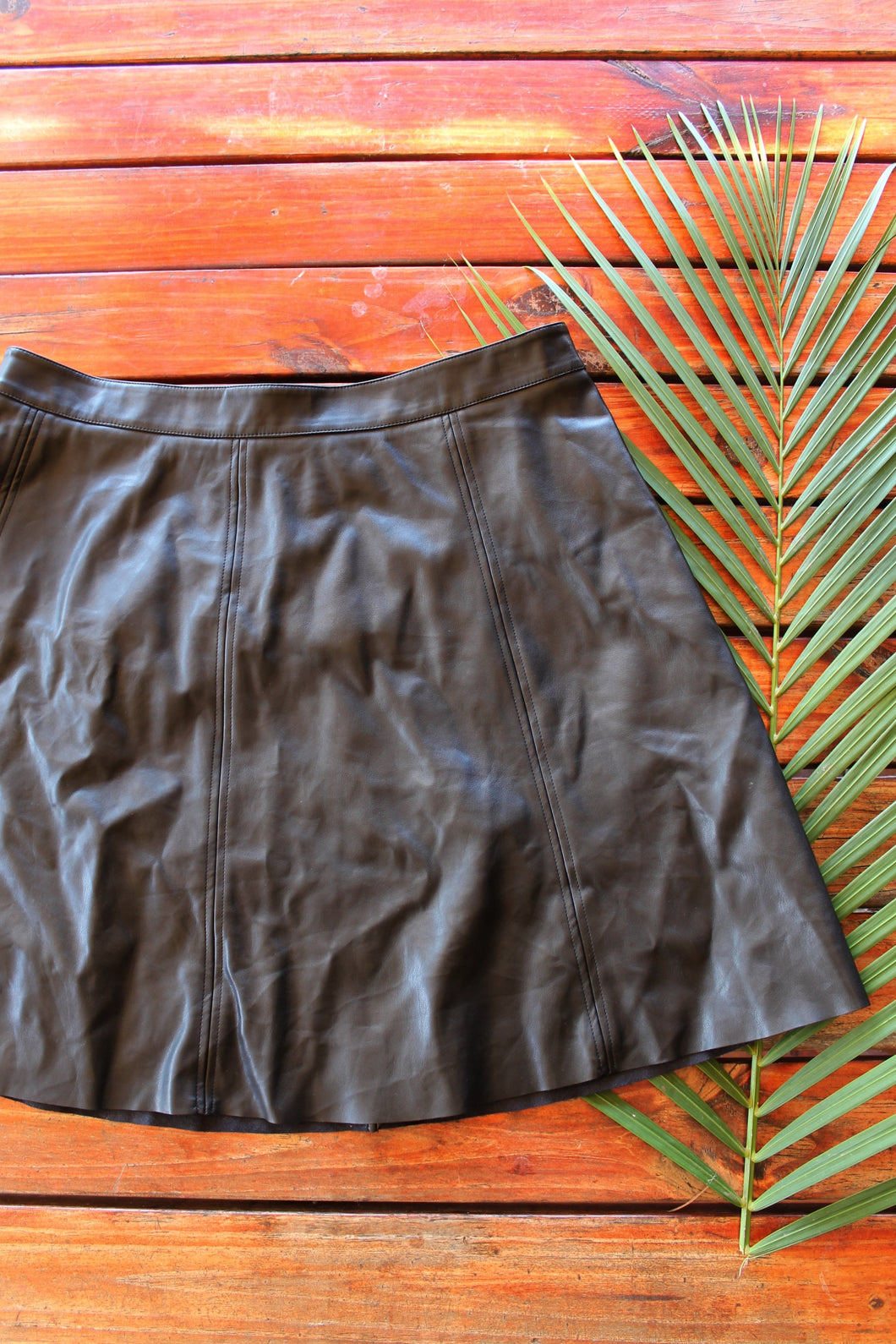Basque Faux Leather Aline Skirt