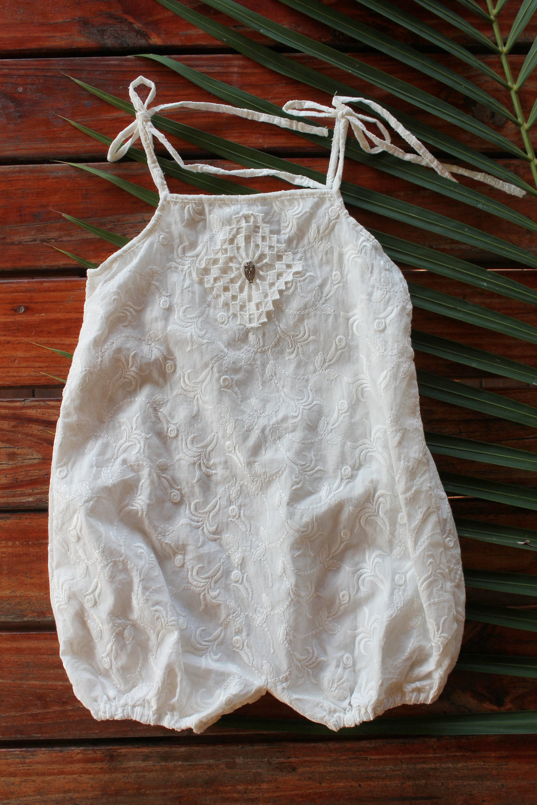 Embroidered Cotton Romper LAST ONE