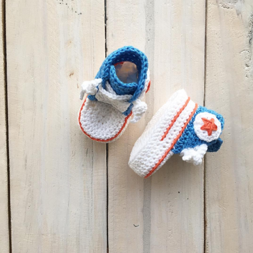 Crochet Baby Booties- BLUE & ORANGE
