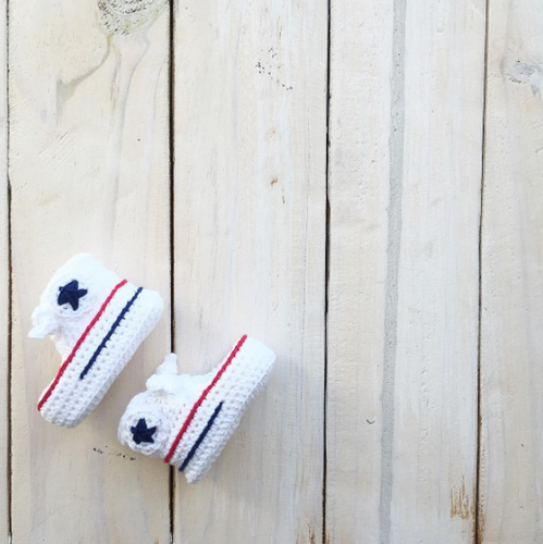 Crochet Baby Booties- BLUE & RED STRIPED